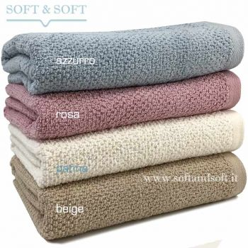 SOFT RICE Bath Towel cm 100x150 pink beige cream blue gr. 430/sm
