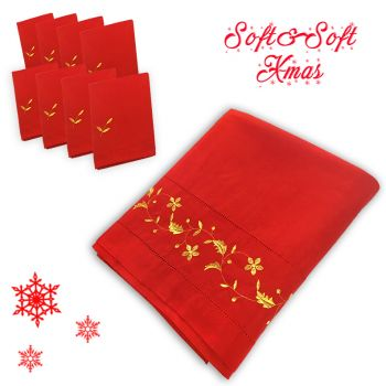 RICAMO NATALE Christmas Tablecloth for Round Table cm 180 for 8 people
