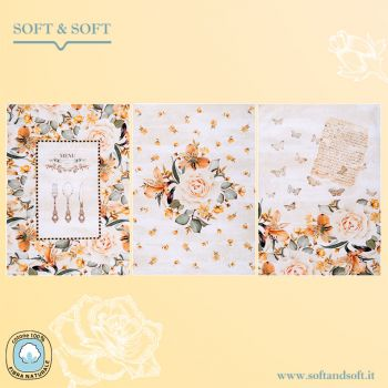 BOUQUET Set 3 Dishcloth cm 75x50 Digital Print