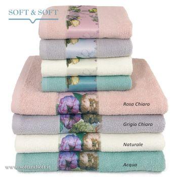 JARDIN Set Asciugamani 1+1 Spugna di Puro Cotone