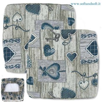Shabby Hearts PAIR CUSHIONS with rubber band for chair REMOVABLE - Green
