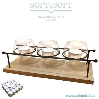 Lanterna legno cm 28x10x9h per 3 candele + 100 Tea-light OMAGGIO