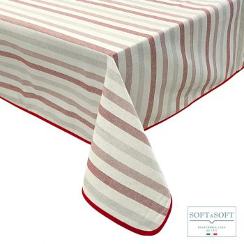 INCAS tovaglia per 6 a righe 140x180 cotone tinto in filo Rosso