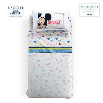 MICKEY AVVENTURA completo lenzuola FLANELLA misura SINGOLA Disney CALEFFI