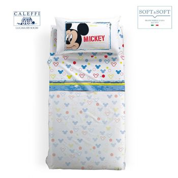 MICKEY AVVENTURA Completo Lenzuola Misura PIAZZA E MEZZA Disney CALEFFI