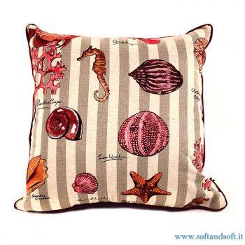 NETTUNO Cuscino Imbottito cm 45x45 Coralli Conchiglie Mare - Rosso