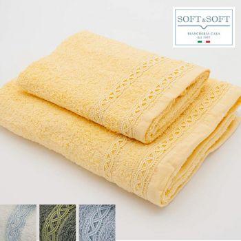 PASTEL Set Asciugamani 1+1 spugna di puro cotone ricamo CREOLE