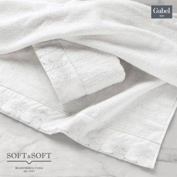 PERGOLA Set Asciugamani 1+1 in Puro Cotone con Bordo Sangallo