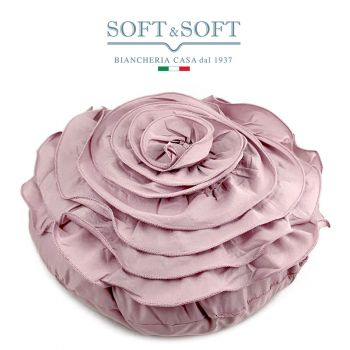 PETALI DI ROSA cuscino arredo rotondo 45x45 Rosa Antico