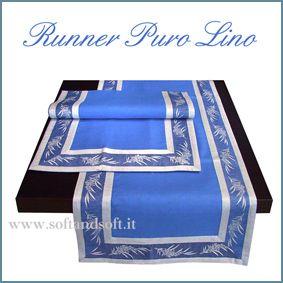 RUNNER Pure linen Blue