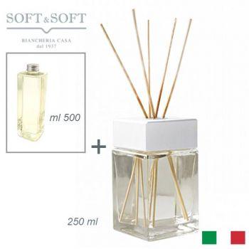 Diffusore aromi profumatore ambienti vetro e legno Bianco ml 250 (con ricarica 500ml)