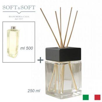 Diffusore aromi profumatore ambienti vetro e legno Nero ml 250 (con ricarica 500ml)