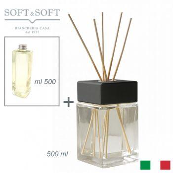 Diffusore aromi profumatore ambienti vetro e legno Nero ml 500 (con ricarica 500ml)