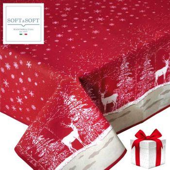 Renne tovaglia natalizia rossa per 6 cm 140x180