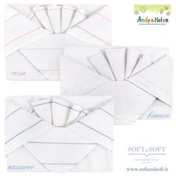 lenzuolini con le sponde da lettino bianchi con tela aida e profilo in sangallo bianco,
