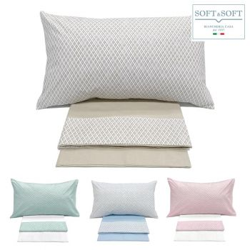 ROMBETTO complete three-quarter bed cotton sheets with printed flounce