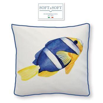SANTORINI BLUE FISH Cuscino Arredo Imbottito cm 45x45