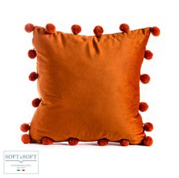 SHARON cuscino arredo velluto 42x42 bordo pon pon