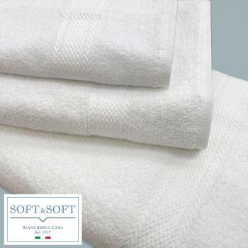 Siri asciugamano viso cm 60x100 bianco puro cotone gr.380