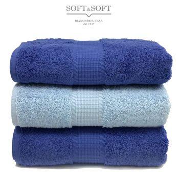Asciugamani Casa set 3 pezzi blu azzurro misura da viso top quality