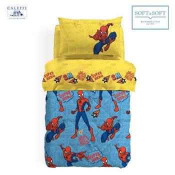 SPIDER-MAN HERO trapunta invernale misura PIAZZA E MEZZA microfibra Disney CALEFFI