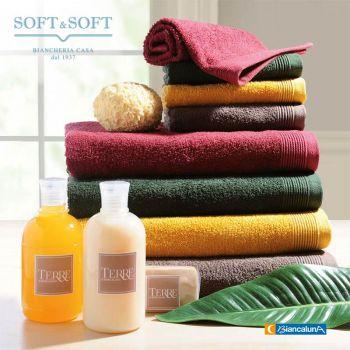 TERRE set asciugamani 1+1 tinta unita in spugna di cotone BIANCALUNA