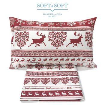 sacco copripiumino singolo tirolese bianco e rosso con le renne