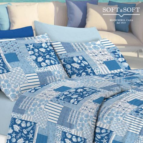 ACANTO Oxford Style Bedcover for Single Bed Sea Style