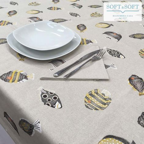 ACQUARIO Pure Cotton Table Set for 6 People Tablecloth+Napkins