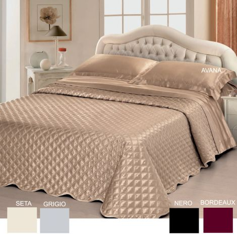 AFRODITE Satin Quilted Bedcover + Sheet Set for Double beds