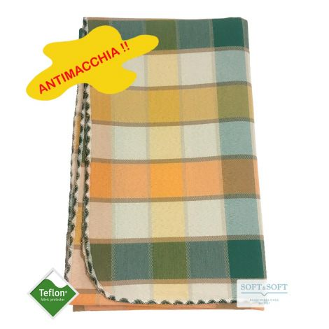BORA Table cloth for 6 cm 140x180 check pattern no stain TEFLON orange and green