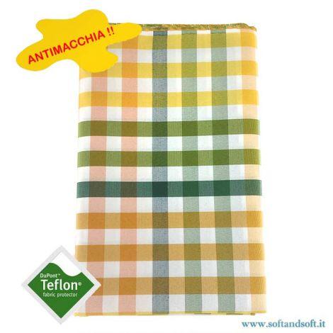 BORA Table cloth for 12 cm 140x250 check no stain TEFLON Yellow Green