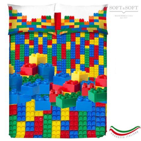 sacco copripiumino colorato stampato con mattoncini lego costruzioni colorate rosse blu verdi e gialle