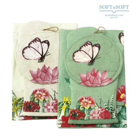 CACTUS Kitchen Set Apron, Oven Mitt and Pot-Holder
