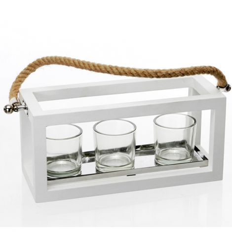 Wood white Lantern with three glass flame protector and rope handle.