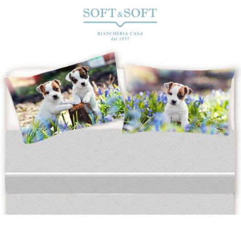 Puppy Sheet set for single bed pure printed cotton