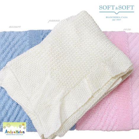 COPERTINA lana invernale neonato per Culla/Carrozzina cm 75x90
