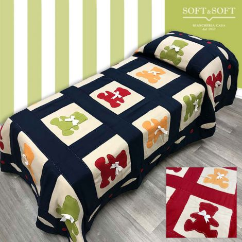 Patchwork quilt cover in fleece for single bed 180x260 - Teddy Bear
