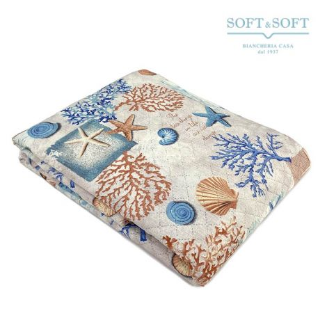 CORALLINA Quilted bedcover double bed for summer season SEA pattern