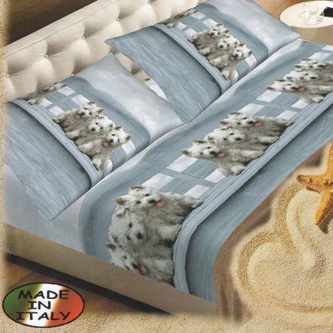Cuccioli completo lenzuola misura SINGOLA in puro cotone stampato