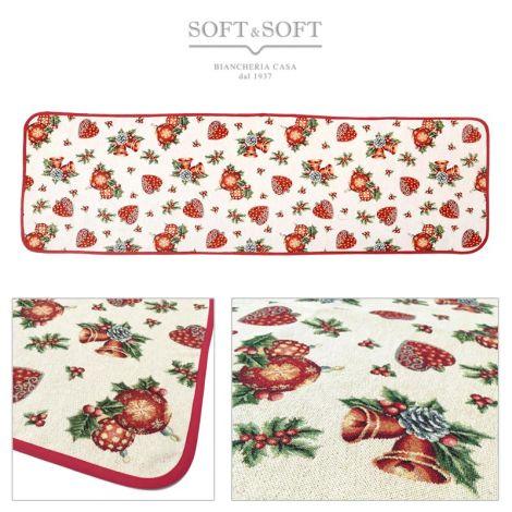 CUORI E CAMPANE Christmas Centrepiece Gobelin Fabric cm 40x120