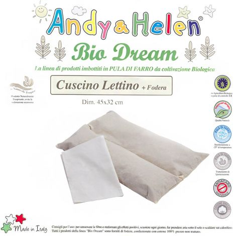BIO DREAM Cuscino da lettino per bambini in Pula di Farro Biologica