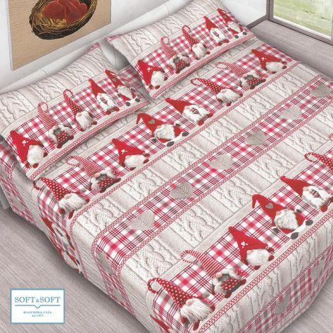 GNOMETTI completo lenzuola misura SINGOLA in puro cotone stampato rosso