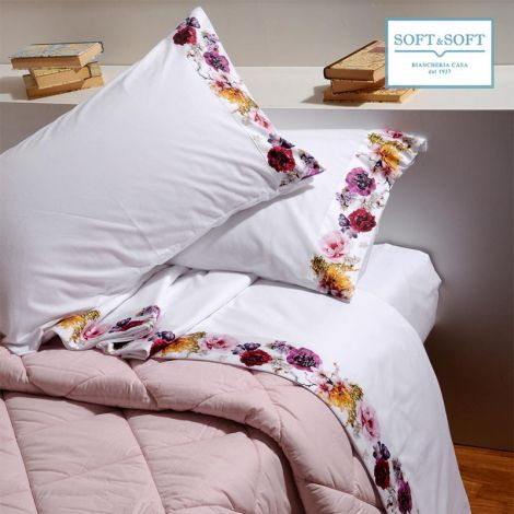 ELISE flannel sheet set for double bed satin flounce