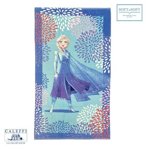 ELSA BLU Beach Towel cm 75×150 Pure cotton Disney Caleffi