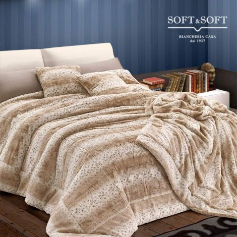 EMI winter double quilt in ecological fur Ermellino 260x260 cm