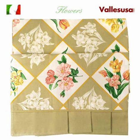 FLOWERS Tovaglia per 12 con tovaglioli cm 150x240 Vallesusa Naturale
