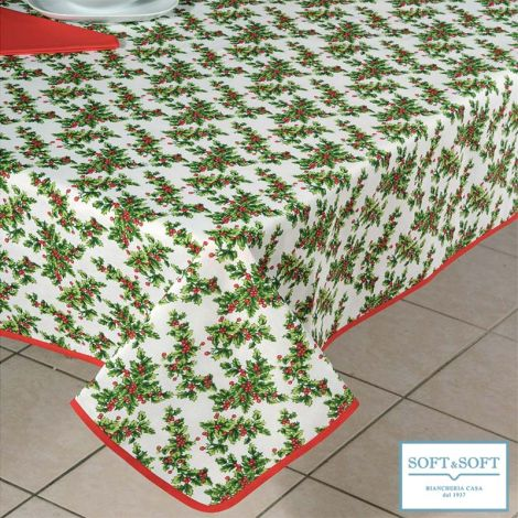GEMMINA AGRIFOGLIO Christmas Printed Cotton Tablecloth for 12 People Table