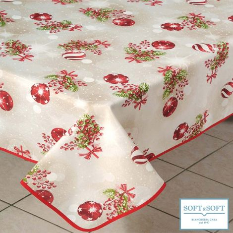 GEMMINA BALLS Christmas Printed Cotton Tablecloth for 6 People Table