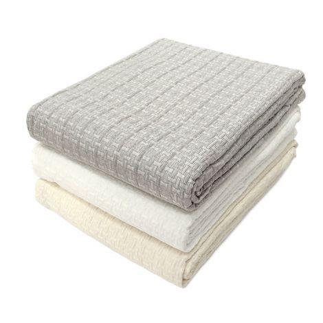 GEO copriletto singolo in tessuto jacquarde matelassè cm 170x260-Bianco